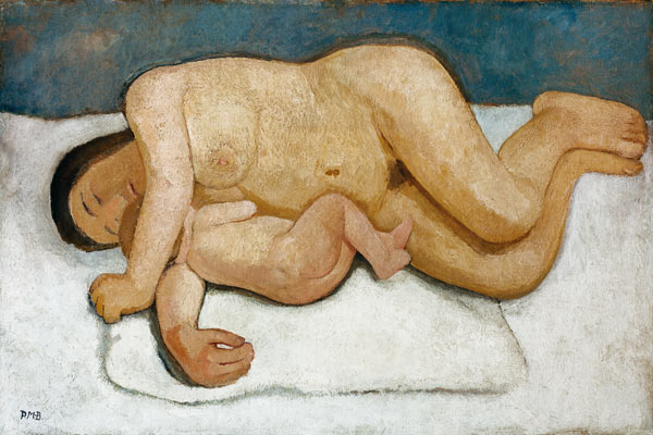 Paula Modersohn-Becker, Reclinging Mother and Child Nude (1906)